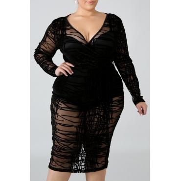 Lovely Casual V Neck See-through Black Knee Length Plus Size Dress