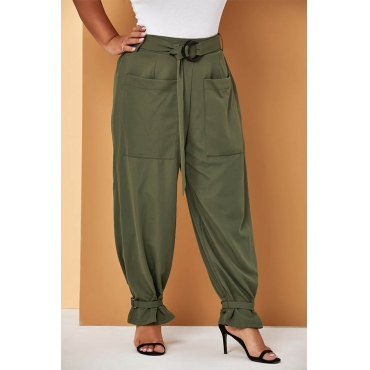 Lovely Casual Loose Green Plus Size Pants