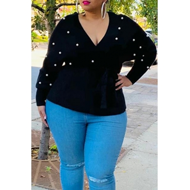Lovely Casual V Neck Black Plus Size Sweater