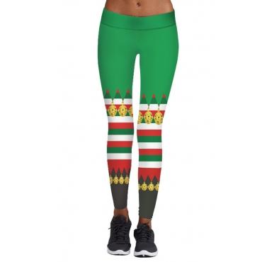 Lovely Christmas Day Printed Green Leggings