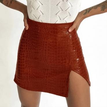 Lovely Trendy Slit Brown Mini Skirt