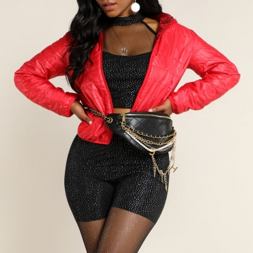 Lovely Casual Hooded Collar Red Coat