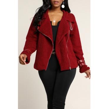 Lovely Casual Zipper Design Wine Red Coat