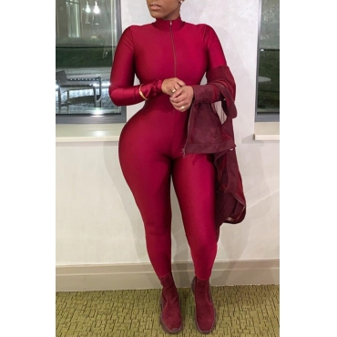 Lovely Trendy Skinny Wine Red One-piece Jumpsuit