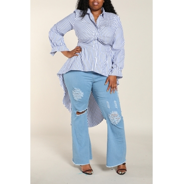 Lovely Sweet Striped Blue Plus Size Shirt