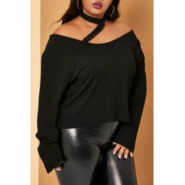 Lovely Casual Dew Shoulder Black Plus Size Sweater