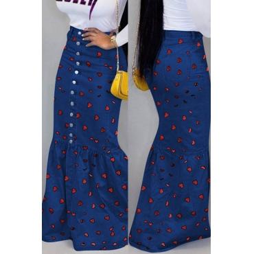 Lovely Sweet Printed Blue Floor Length Cake Skirt