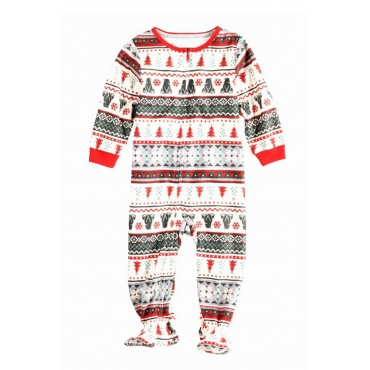 Lovely Family Santa Claus Printed White Baby One-piece Jumpsuit