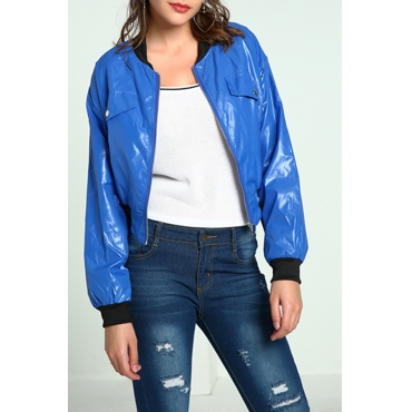 Lovely Casual Zipper Design Blue Jacket