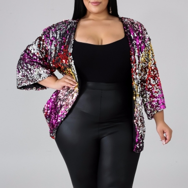 Lovely Casual Sequined Multicolor Plus Size Coat