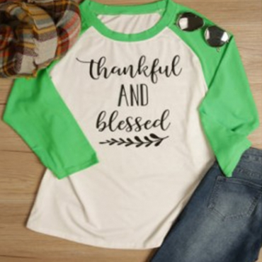 Lovely Casual Letter Printed Green Plus Size T-shirt