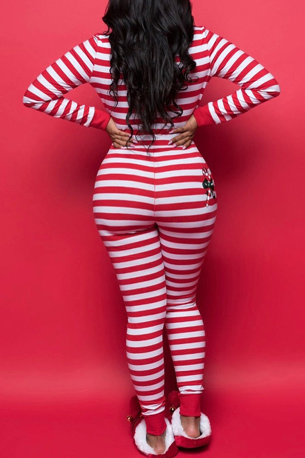 Lovely Christmas Day Striped Red One-piece Jumpsuit