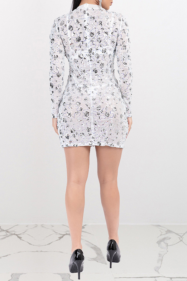 Lovely Party See-through Silver Mini Dress