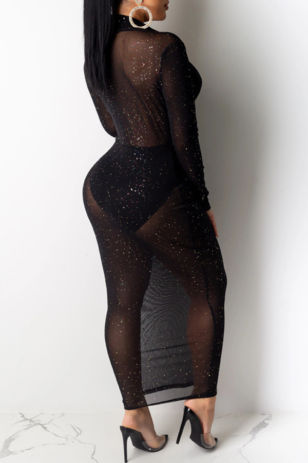 Lovely Sexy See-through Black Ankle Length Dress(Without Lining)