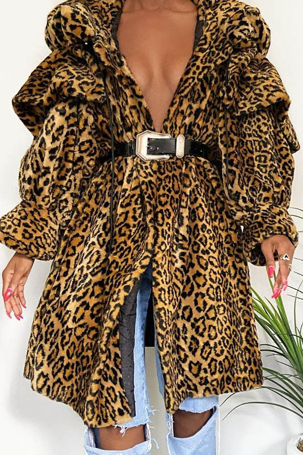 Lovely Trendy Loose Leopard Printed Coat(Without Belt)
