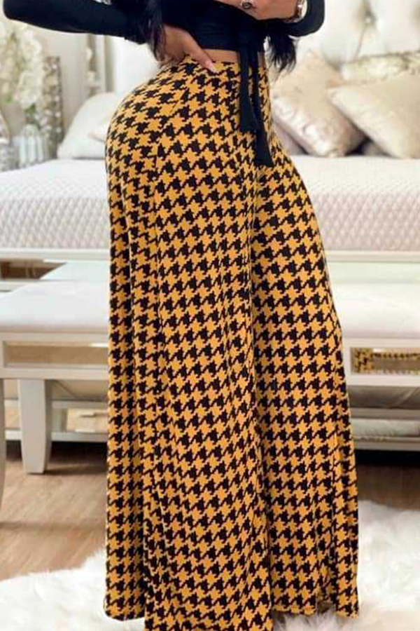 Lovely Casual Printed Loose Yellow Pants