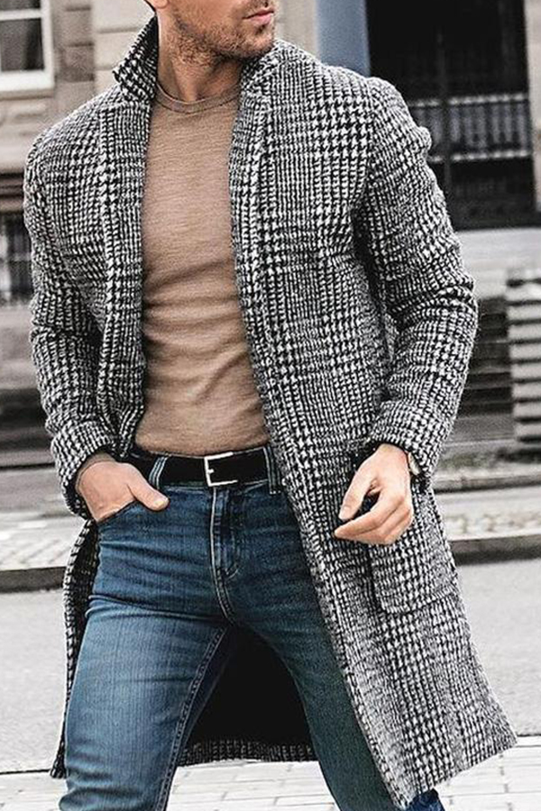 Lovely Work Plaid Printed Black And White Coat