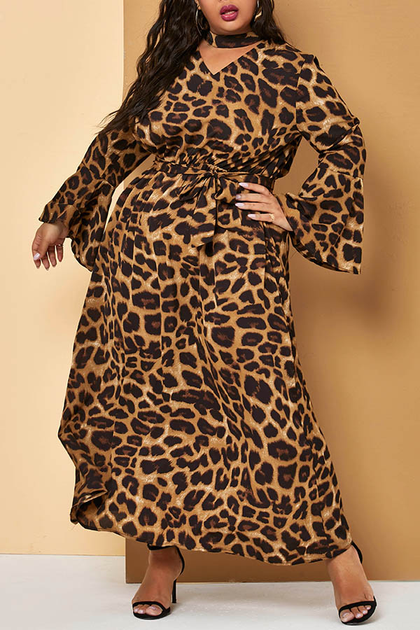Lovely Casual Leopard Printed Ankle Length Plus Size Dress