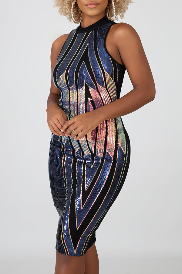 Lovely Party Patchwork Sequined Blue Mini Prom Dress