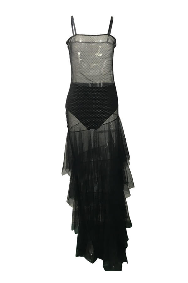 Lovely Sexy See-through Patchwork Black Floor Length Dress(With Underwear)