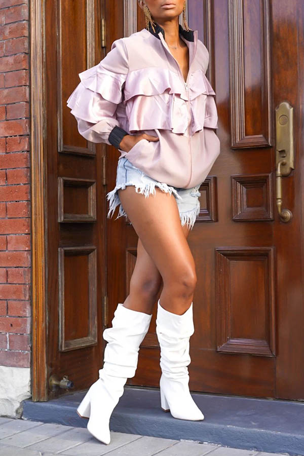 lovelywholesale / Lovely Casual Flounce Design Light Pink Coat