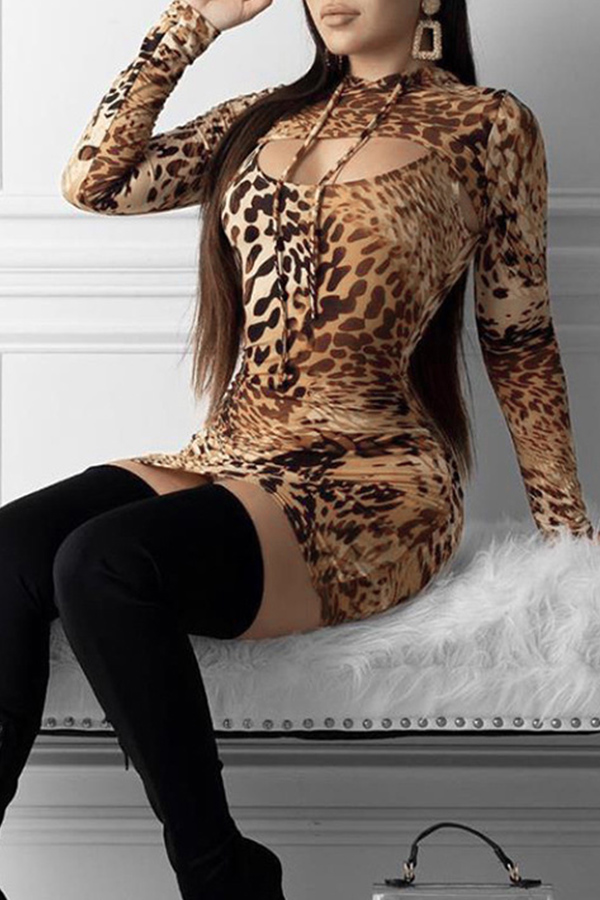 Lovely Casual Hooded Collar Leopard Printed Mini Dress