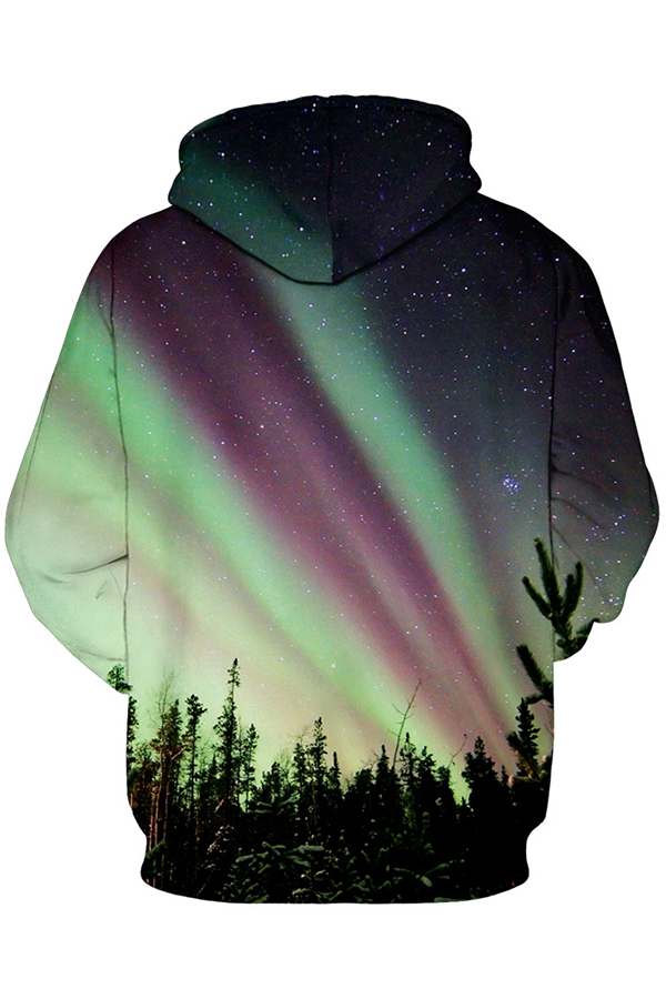 Lovely Christmas Day Printed Light Green Plus Size Hoodie