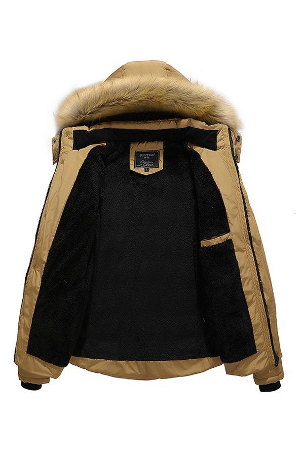 Lovely Trendy Basic Khaki Cotton-padded Clothe