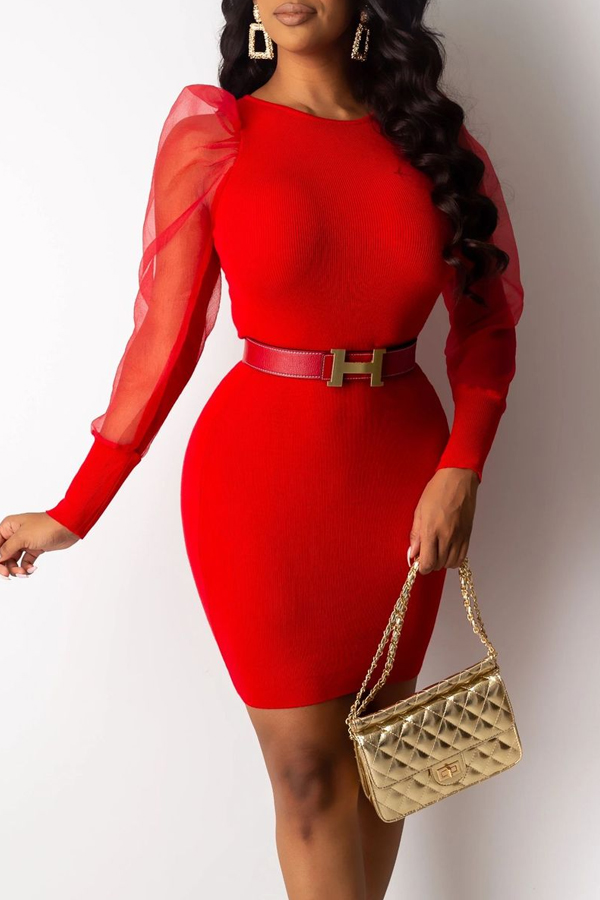 Lovely Sweet Patchwork Red Mini Dress(Without Belt)