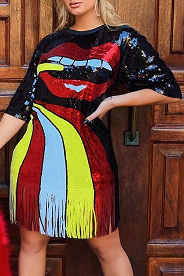 Lovely Casual O Neck Tassel Design Multicolor Knee Length Dress