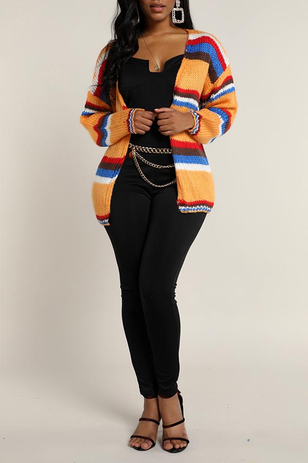 Lovely Casual Striped Orange Cardigan