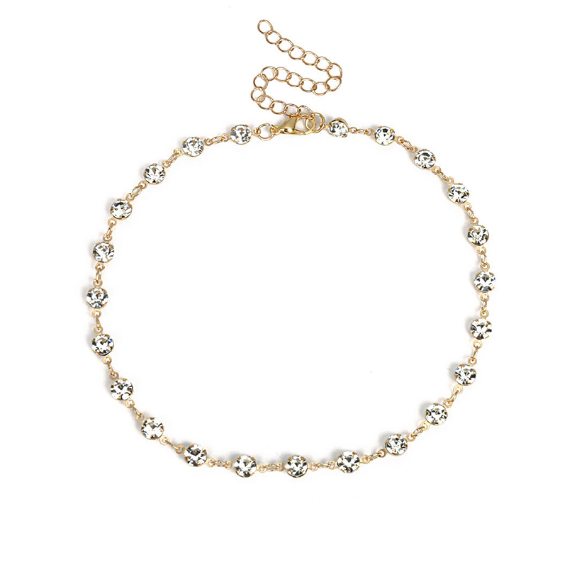 Lovely Trendy Crystal Gold Metal Necklace
