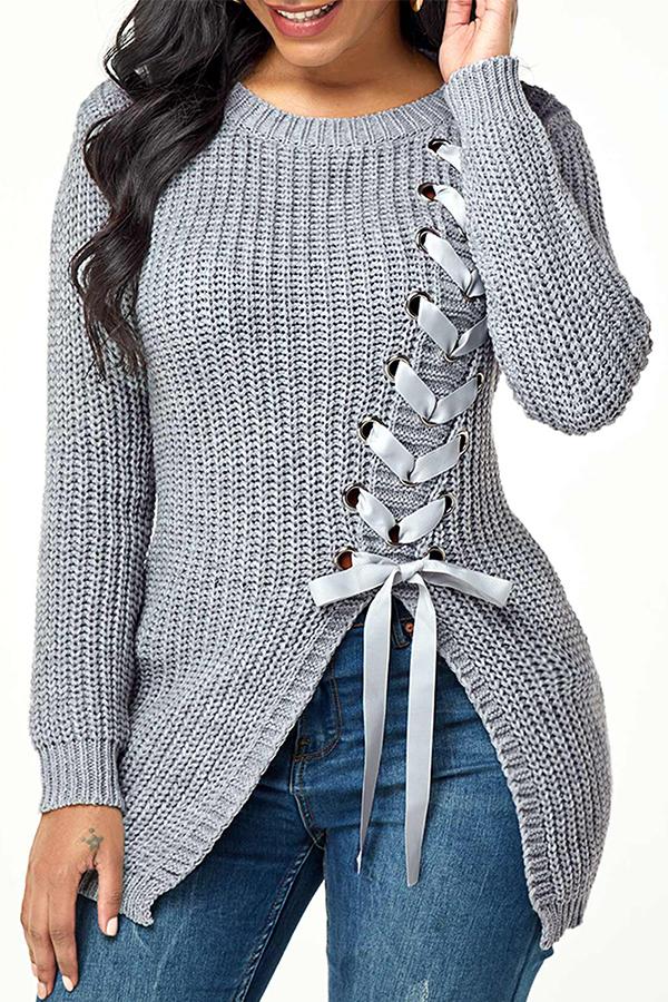 Lovely Trendy Bandage Design Grey Sweater