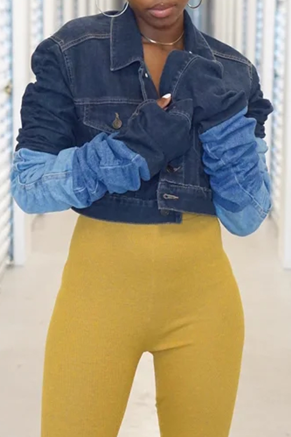 Lovely Casual Patchwork Blue Coat