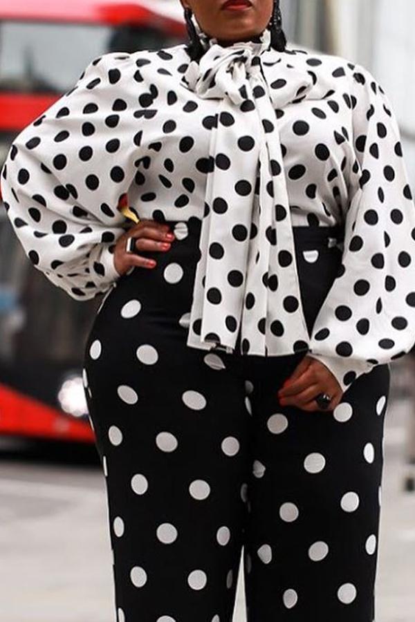 Lovely Trendy Dot Printed Black Plus Size Blouse