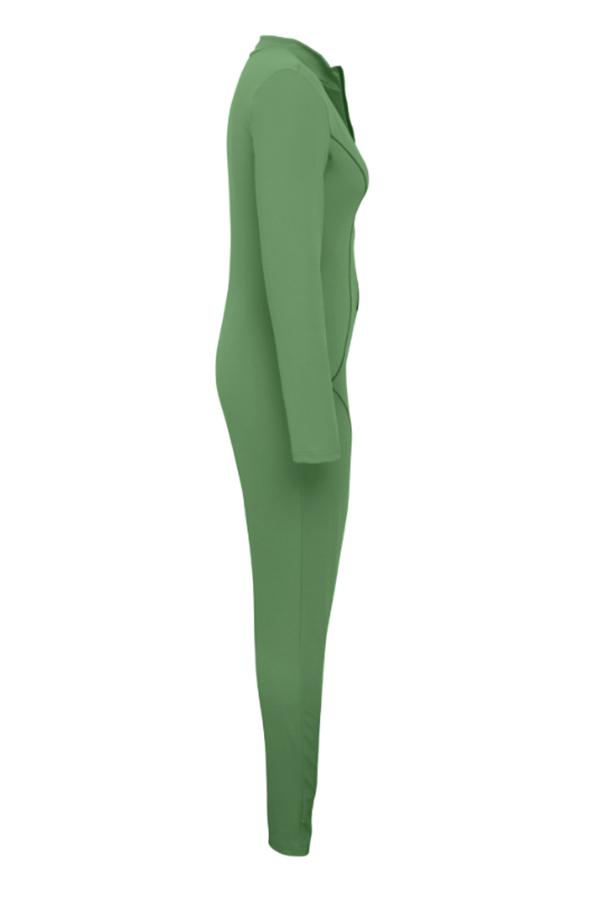 Lovely Casual Zipper Design Green One-piece Jumpsuit