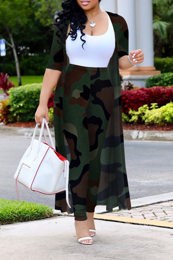 Lovely Trendy Camouflage Printed Two-piece Pants Set