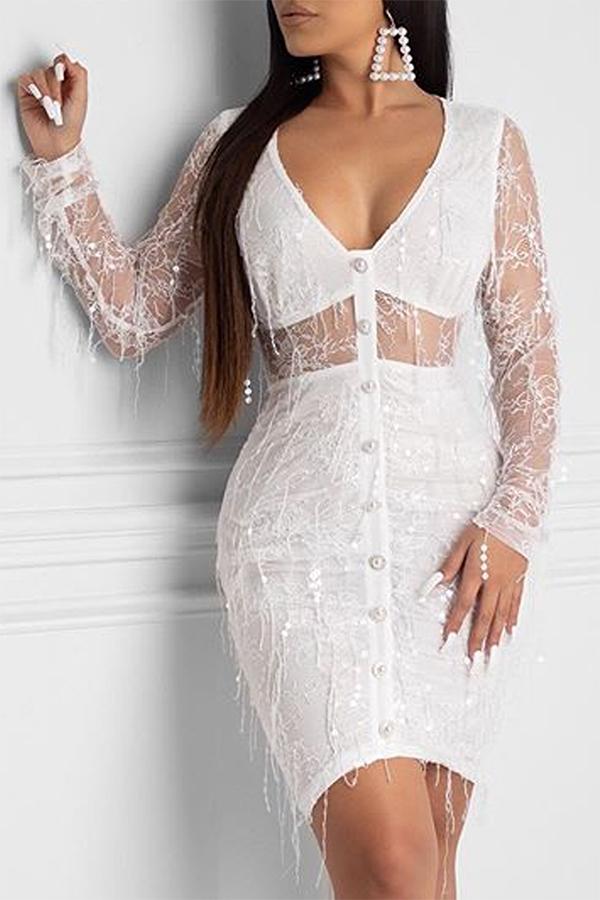 Lovely Sweet See-through White Mini Dress
