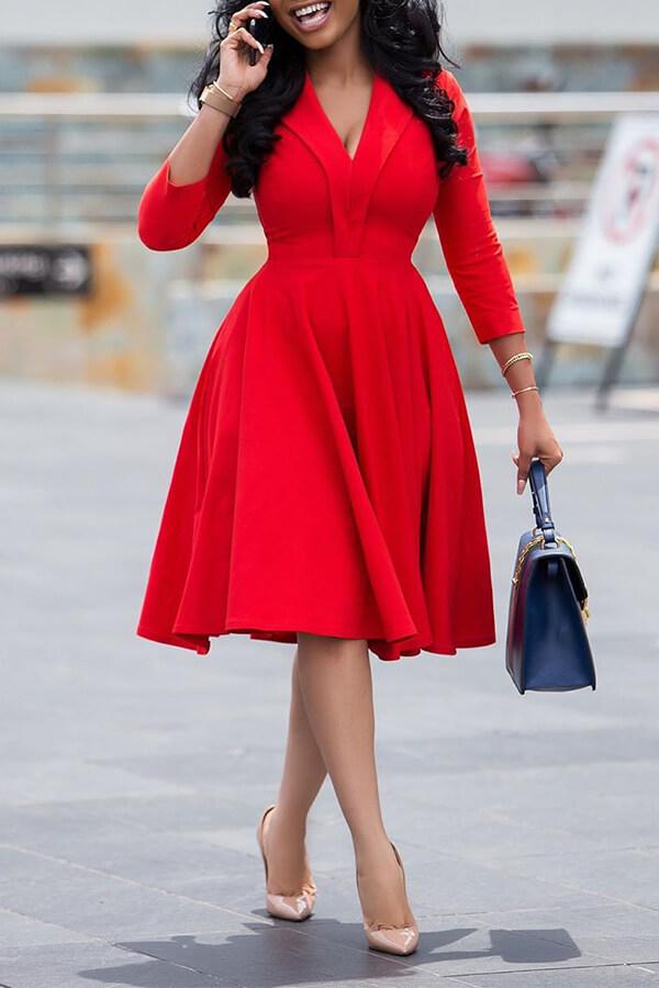 Lovely Leisure V Neck Red Knee Length Dress