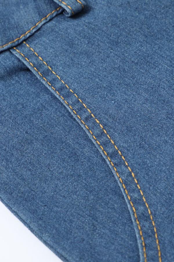 Lovely Casual Turndown Collar Buttons Design Blue Mid Calf Dress