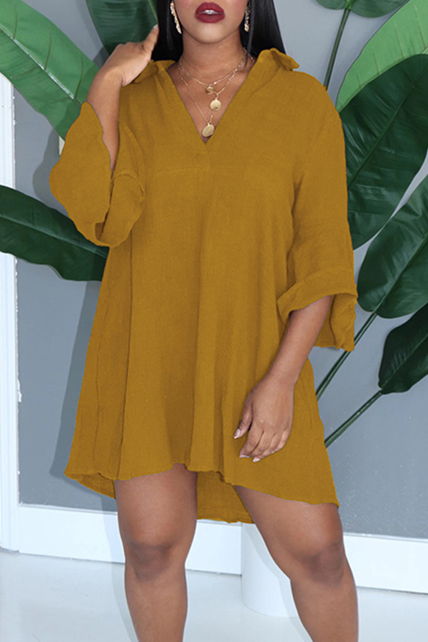 Lovely Casual V Neck Loose Yellow Mini Dress