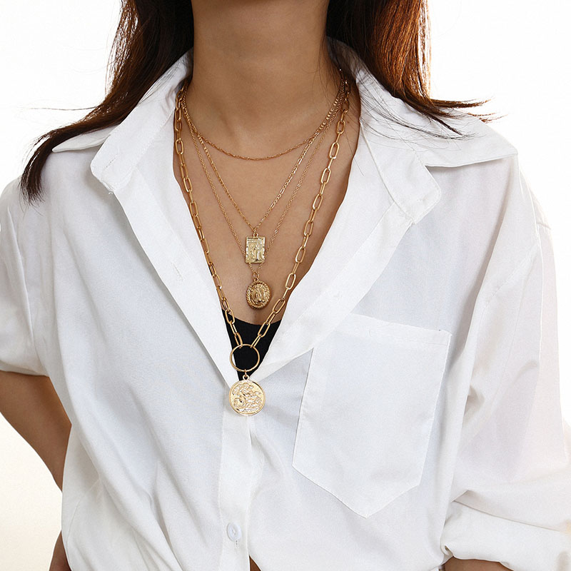 Lovely Casual Layered Gold Alloy Necklace
