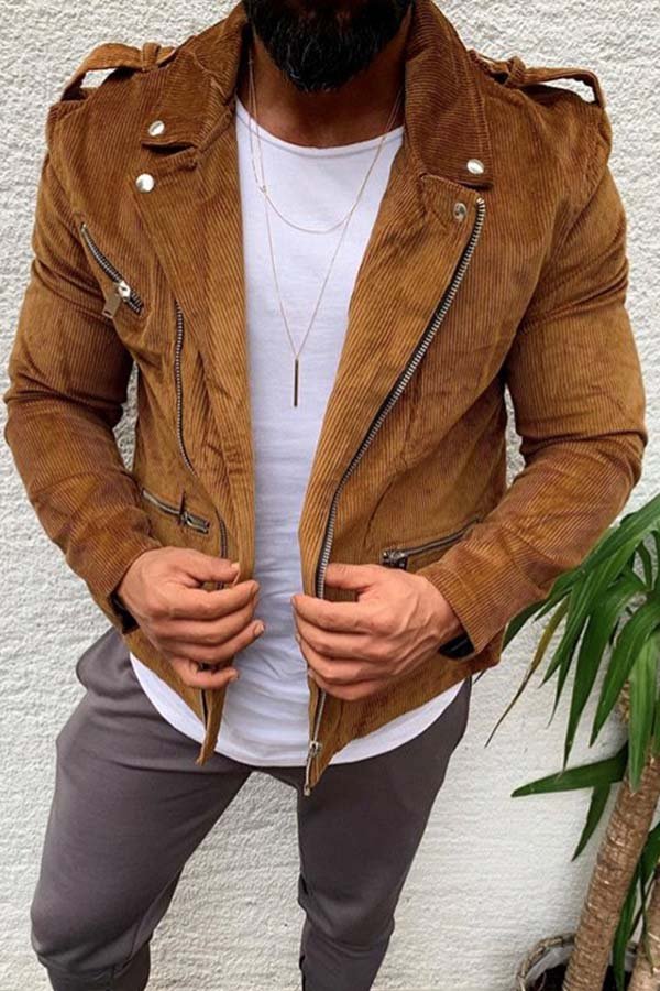 Lovely Casual Basic Brown Jacket