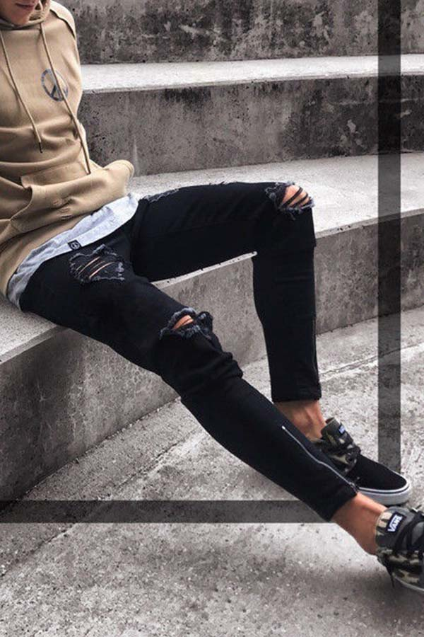 Lovely Casual Broken Holes Baby Black Jeans