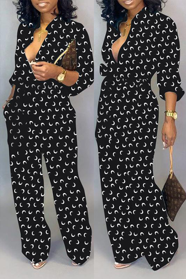 Lovely Leisure Printed Loose Black One-piece Jumpsuit