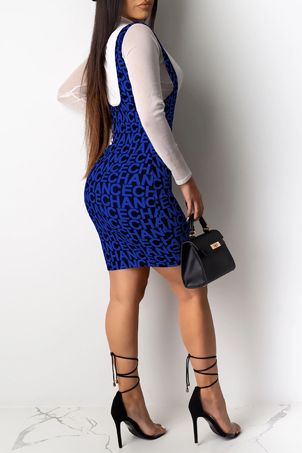 Lovely Casual Letter Printed Blue Two-piece Skirt Set