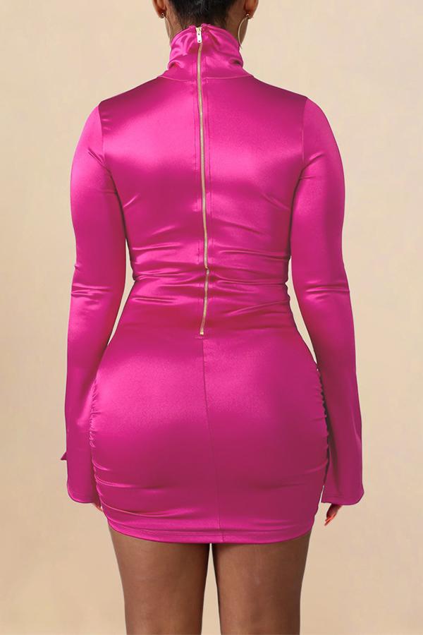 Lovely Casual Zipper Design Rose Red Mini Dress