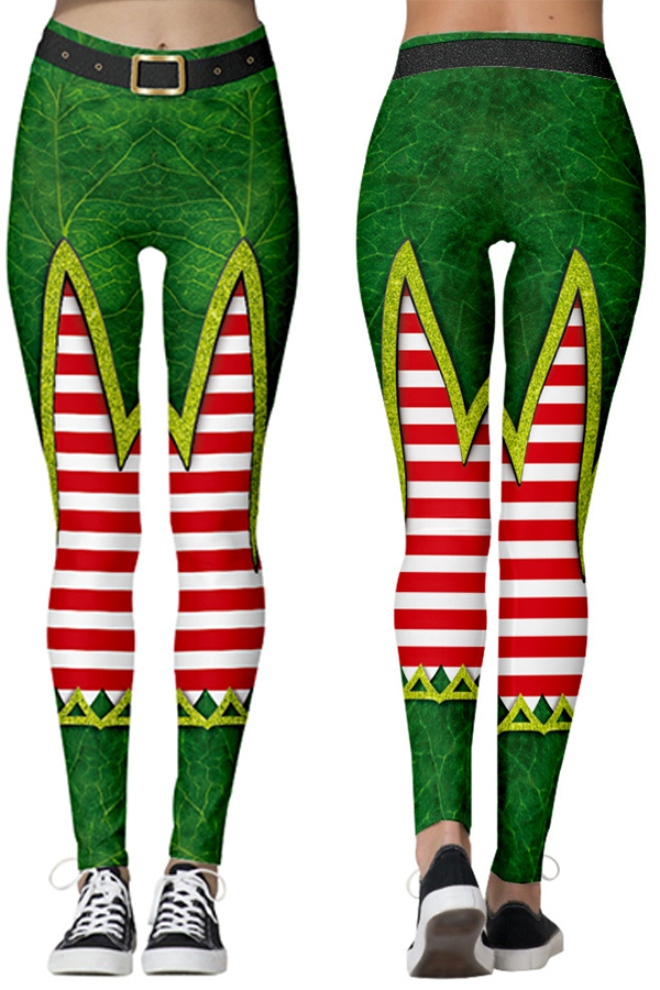 Lovely Christmas Day Printed Skinny Green Leggings