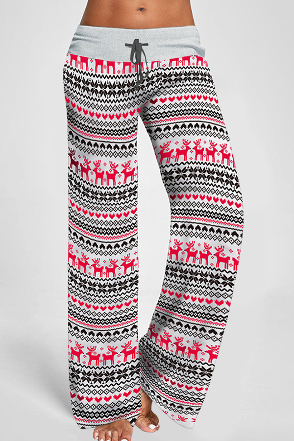 Lovely Christmas Day Loose Printed White Pants