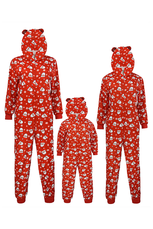Lovely Family Santa Claus Printed Dark Blue Red One-piece Jumpsuit